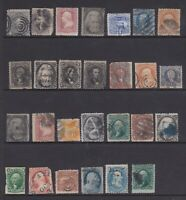 US USED CLASSICS LOT OF 27 STAMPS. FAULTY SPACEFILLERS . HIG
