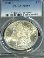 1880-S MORGAN SILVER DOLLAR PCGS MINT STATE 64 WHITE SEMI MIRROR GREAT LUSTER PQ G954
