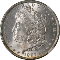 1897-P MORGAN SILVER DOLLAR VAM 1 NGC MINT STATE 64 GREAT EYE APPEAL STRONG STRIKE