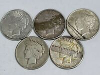 1922 1923 PEACE SILVER DOLLARS LOT OF 5 5 COINS FOR 1 BID