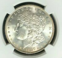 1887 MORGAN SILVER DOLLAR - NGC MINT STATE 65 BEAUTIFUL COIN REF27-009