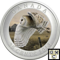 2013 'BARN OWL' COLORIZED 25 CENT COIN OVERSIZED  13257