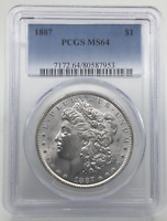 1887-P MORGAN SILVER DOLLAR MINT STATE 64 PCGS CERTIFIED MINT STATE 64 $1
