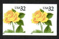IMPERF   DIE CUT MISSING   US 3054A 32C YELLOW ROSE MINT PAI