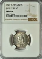 GREAT BRITAIN SILVER 1 SHILLING 1887 NGC MS 62  UNC