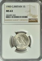 GREAT BRITAIN SILVER 1 SHILLING 1900 NGC MS 63 UNC