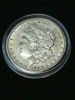 1890 P MORGAN SILVER DOLLAR EXTRA FINE /AU WHITE WITH  LUSTER IN AIRTIGHT CAP R82