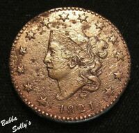 1821 CORONET HEAD LARGE CENT <> N 1 R1 SQ SERIF LTRS/ROTATED