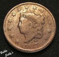 1827 CORONET HEAD LARGE CENT <> N 5 R2  SAWTOOTH DENTILS <>