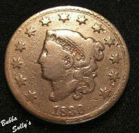 1830 CORONET HEAD LARGE CENT <> N 3 R3 CRACK THROUGH EIGHT S