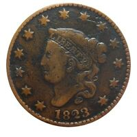 LARGE CENT/PENNY 1823 3 OVER 2 OVERDATE HIGHER GRADE DETAILS