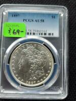1897 VAM 6A NEAR DATE PITTED REVERSE  TOP 100 MORGAN VAM  MORGAN SILVER DOLLAR