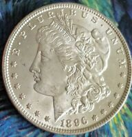 1896 UNC BU MORGAN SILVER DOLLAR 90 SILVER. SUPERIOR FIELDS. VAM. TONING