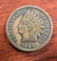 1908 S 1C INDIAN HEAD CENT PENNY COLLECTIBLE COIN BETTER DAT