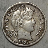 1902-S BARBER DIME, CHOICE  FINE, VF/EF, DISCOUNTED      1124-08
