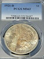 1921-D MORGAN SILVER DOLLAR PCGS MINT STATE 63 WHITE & TONED,  FROSTY LUSTER G111