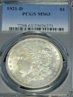 1921-D MORGAN SILVER DOLLAR PCGS MINT STATE 63 WHITE,  FROSTY LUSTER G112
