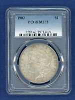 1903 P PCGS MINT STATE 62 MORGAN SILVER DOLLAR $1 US MINT  DATE 1903-P MINT STATE 62