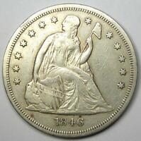 1846 SEATED LIBERTY SILVER DOLLAR $1 - EXTRA FINE  DETAIL EF -  EARLY DATE COIN