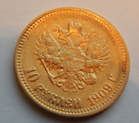 1909  RUSSIAN GOLD COIN   IMPERIAL 10 ROUBLES   NICHOLAS II