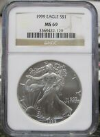 1999 SILVER EAGLE NGC MINT STATE 69