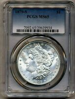 1879-S MORGAN PCGS MINT STATE 65 BLAST WHITE SHINY SILVER DOLLAR COIN SAN FRANCISCO MINT