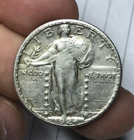 1924 S STANDING LIBERTY QUARTER CLEANED EXCELLENT DETAILS