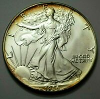 1986 AMERICAN SILVER EAGLE DOLLAR FIRST YEAR 1 OZ 999 SILVER UNC COIN NAT.TONING