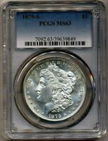 1879-S MORGAN PCGS MINT STATE 63 MOSTLY WHITE ALMOST PL SILVER DOLLAR SAN FRANCISCO MINT