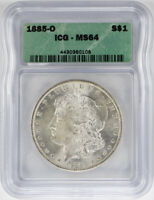 1885-O MORGAN SILVER DOLLAR ICG MINT STATE 64 $1