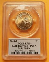 PCGS SATIN FINISH 68  2009-P WILLIAM HARRISON PRESIDENTIAL SERIES DOLLAR POS A SATIN FINISH
