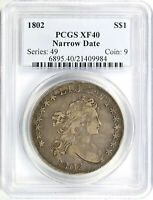 1802 NARROW DATE $1 DRAPED BUST SILVER DOLLAR PCGS EXTRA FINE 40