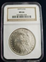 1879-S MORGAN SILVER DOLLAR MINT STATE 66