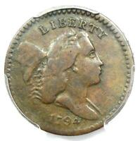 1794 LIBERTY CAP FLOWING HAIR HALF CENT 1/2C COIN - PCGS VG10 - $1,900 VALUE