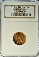 GERMANY PRUSSIA GOLD 10 MARK 1873 NGC MS 66 UNC