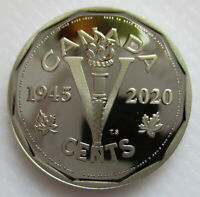 CANADA 2020 5 CENTS VE DAY 75TH ANNIVERSARY PROOF NICKEL HEA