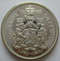 1965 CANADA 50 CENTS PROOF LIKE SILVER HALF DOLLAR COIN