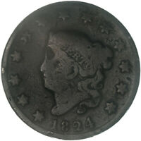 1824 CORONET LARGE CENT ABOUT GOOD AG SLIGHT BEND SEE PICS E844