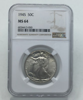 1945-P WALKING LIBERTY HALF DOLLAR MINT STATE 64 NGC CERTIFIED MINT STATE 64 SILVER 50C