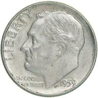 1959 D ROOSEVELT DIME 90 SILVER ABOUT UNCIRCULATED AU