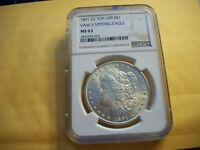 1891-CC TOP-100 MORGAN NGC MINT STATE 63 VAM-3 SPITTING EAGLE BEAUTIFUL BRIGHT LUSTER