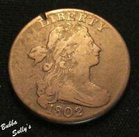 1802 DRAPED BUST LARGE CENT <> S 232 R1 'T' CUT OVER A 'Y' <
