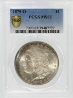 1879-O MORGAN SILVER DOLLAR PCGS MINT STATE 65 $1 CERTIFIED COIN TONED TONING - JJ423