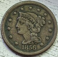 1856 BRAIDED HAIR LARGE CENT XF COIN