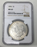 1896-P MORGAN SILVER DOLLAR MINT STATE 63 NGC CERTIFIED MINT STATE 63 $1