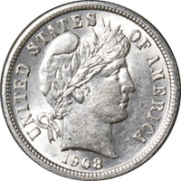 1908-P BARBER DIME GREAT DEALS FROM THE EXECUTIVE COIN COMPANY
