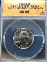 MS 65 SLAB 1960 TYPE B PROOF DIE REVERSE WASHINGTON QUARTER SHIPS FREE