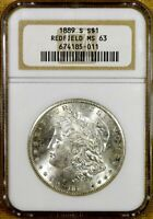 1889-S NGC MINT STATE 63 MORGAN DOLLAR - 100 WHITE - REDFIELD HOARD 2