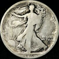 VG 1916 D WALKING LIBERTY SILVER HALF DOLLAR FREE SHIPPING