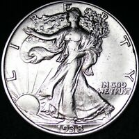 AU 1938 WALKING LIBERTY SILVER HALF DOLLAR FREE SHIPPING
